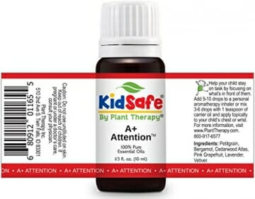 Plant Therapy KidSafe A+ Attention Synergy Essential Oil Blend. Blend of: Petitgrain, Bergamot, Cedarwood Atlas, Grapefruit, Lavender and Vetiver. 10 ml (1/3 oz). - 2