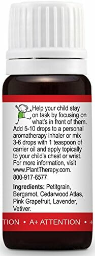 Plant Therapy KidSafe A+ Attention Synergy Essential Oil Blend. Blend of: Petitgrain, Bergamot, Cedarwood Atlas, Grapefruit, Lavender and Vetiver. 10 ml (1/3 oz). - 4