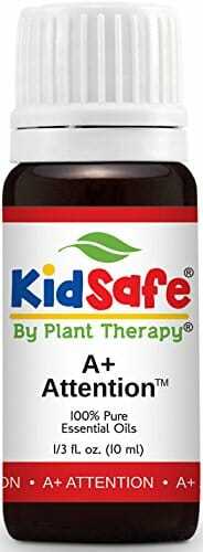 Plant Therapy KidSafe A+ Attention Synergy Essential Oil Blend. Blend of: Petitgrain, Bergamot, Cedarwood Atlas, Grapefruit, Lavender and Vetiver. 10 ml (1/3 oz). - 1