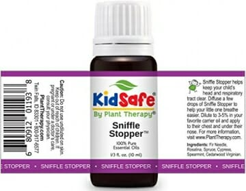 Plant Therapy KidSafe Sniffle Stopper Synergy Essential Oil Blend. Blend of: Fir Needle, Rosalina, Spruce, Cypress, Spearmint and Cedarwood Virginian. 10 ml (1/3 oz). - 2