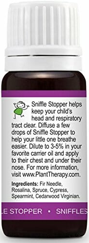Plant Therapy KidSafe Sniffle Stopper Synergy Essential Oil Blend. Blend of: Fir Needle, Rosalina, Spruce, Cypress, Spearmint and Cedarwood Virginian. 10 ml (1/3 oz). - 4