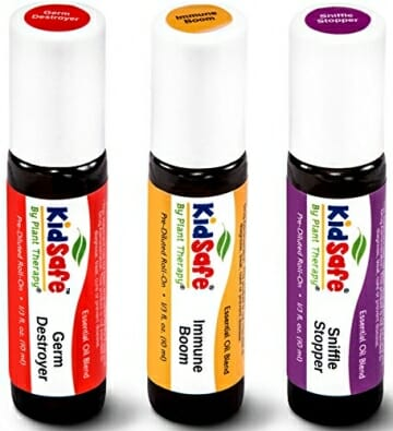 Plant Therapy KidSafe Wellness Roll-On Sampler Set. 100% Pure, Therapeutic Grade Essential Oils Diluted in Coconut Oil. Includes: Germ Destroyer, Immune Boom and Sniffle Stopper. 10 ml (1/3 oz) each. - 1