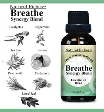 Respiratory Essential Oil Breathe Blend 30ml - 100% Natural Pure Therapeutic Grade for Aromatherapy, Scents & Diffuser - Sinus Relief, Allergy, Congestion, Cold, Cough, Headache - 3