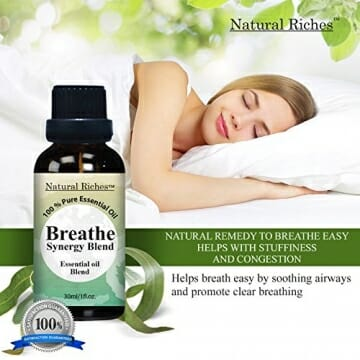 Respiratory Essential Oil Breathe Blend 30ml - 100% Natural Pure Therapeutic Grade for Aromatherapy, Scents & Diffuser - Sinus Relief, Allergy, Congestion, Cold, Cough, Headache - 4