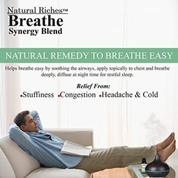 Respiratory Essential Oil Breathe Blend 30ml - 100% Natural Pure Therapeutic Grade for Aromatherapy, Scents & Diffuser - Sinus Relief, Allergy, Congestion, Cold, Cough, Headache - 6