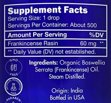 Zongle USDA Certified Organic Frankincense Essential Oil, Safe To Ingest, Boswellia Serrata, 1 oz - 6