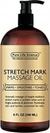 Anti Stretch Marks Massage Oil – All Natural Ingredients – Penetrates Skin 6X Deeper Than Stretch Mark Cream - Targets Unwanted Fat Tissues & Improves Skin Firmness - 8 OZ - 1