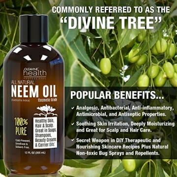 Neem Oil Organic & Wild Crafted Pure Cold Pressed Unrefined Cosmetic Grade 12 oz for Skincare, Hair Care, and Natural Bug Repellent by Oleavine - 2