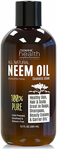 Neem Oil Organic & Wild Crafted Pure Cold Pressed Unrefined Cosmetic Grade 12 oz for Skincare, Hair Care, and Natural Bug Repellent by Oleavine - 1