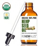 Renewalize CERTIFIED ORGANIC HEMP SEED CLEANSING OIL - Face Cleanser and Moisturizer | 100% Pure Cold Pressed and Unrefined | Best Daily, Night time, Facial Regimen for Acne Pimple Prone Skin 4oz - 1