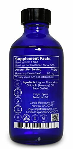 Zongle USDA Certified Organic Rosemary Essential Oil, Safe To Ingest, Rosmarinus Officinalis, 1 oz - 2